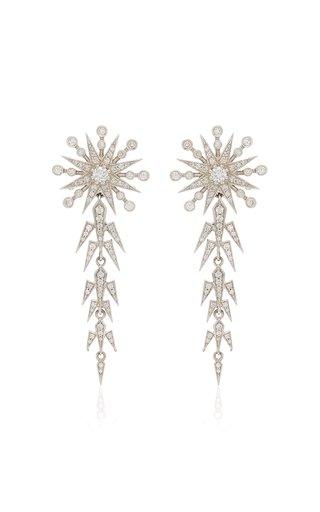 Moon and Star 18K White Gold Pearl, Diamond Earrings
