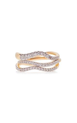 Pave Wave 14k Gold Diamond Three-Piece Ring Set