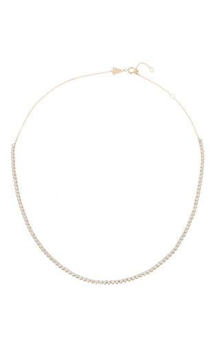 Half Riviera 14k Gold Diamond Necklace