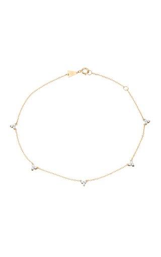 14k Gold Diamond Cluster Chain Anklet