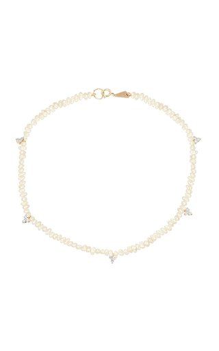 14k Gold Freshwater Pearl and Diamond Cluster Anklet