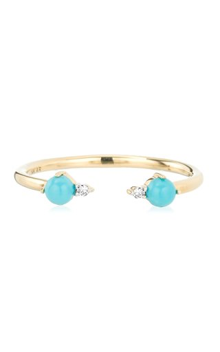 Open 14k Gold Turquoise and Diamond Ring