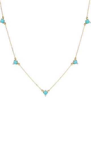 14k Gold Turquoise and Diamond Cluster Chain Necklace