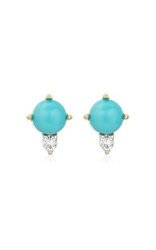 14k Gold Turquoise and Diamond Stud Earrings