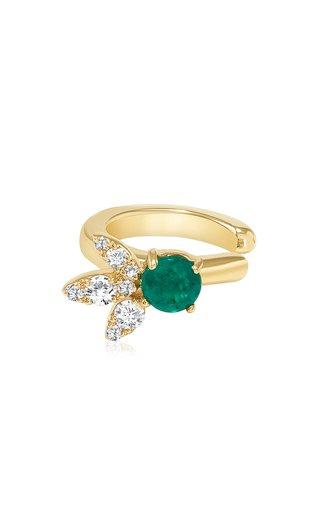 Flower 14k Gold Emerald & Diamond Ear Cuff
