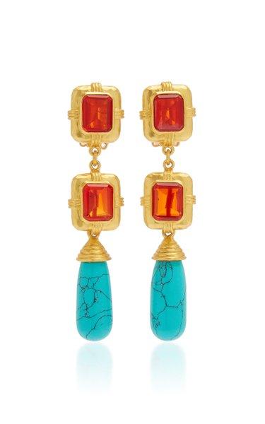 Citrine Quartz and Turquoise Nancy Earrings