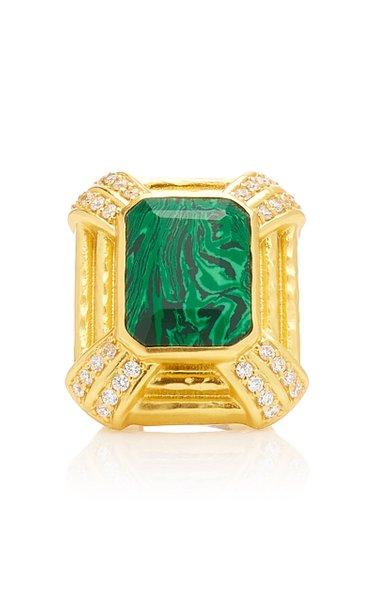 24K Gold-Plated Malachite Jennifer Ring