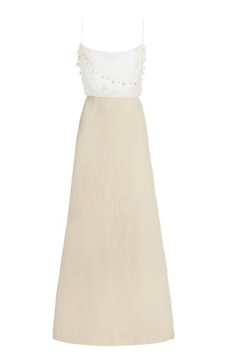 Bandana Pearl-Trimmed Silk and Hemp Maxi Dress