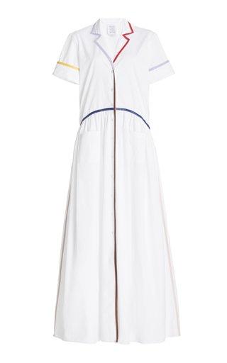 Faux Leather-Trimmed Cotton Maxi Shirt Dress