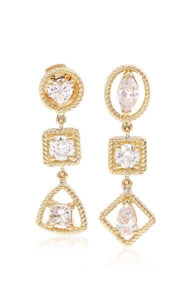 Six Mixed Unity 18k Gold Diamond Drop Earrings