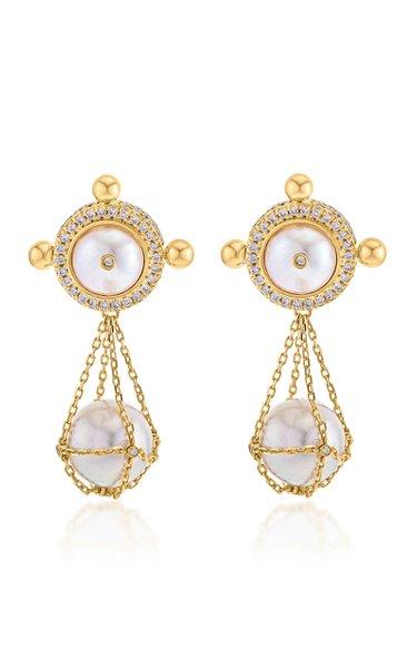 Tawwash Token 18k Gold Diamond & Pearl Earrings