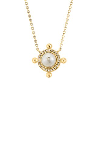 Tawwash 18k Gold Diamond & Pearl Token Necklace
