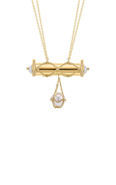 Nahham 18k Gold Diamond & Pearl Necklace