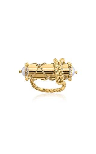 Nahham 18k Yellow Gold Diamond, Pearl Scroll Ring