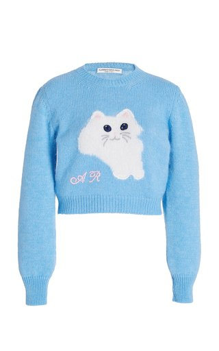 Cropped Cat-Knit Wool-Blend Sweater