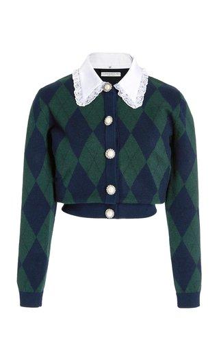 Collared Argyle-Knit Cropped Cardigan
