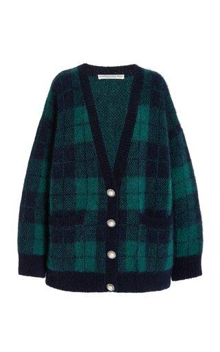 Oversized Brushed Tartan Knit Cardigan