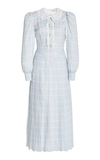Lace-Trimmed Houndstooth Silk Maxi Dress