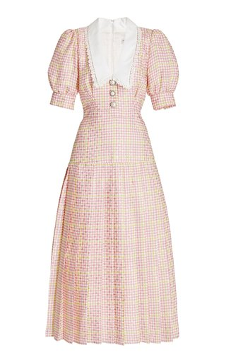 Lace-Trimmed Houndstooth Silk Midi Dress