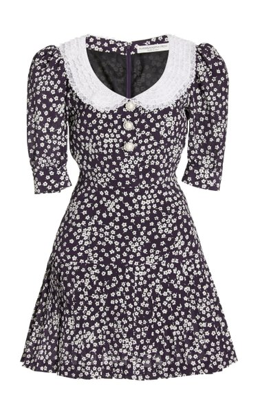 Lace-Trimmed Daisy-Print Silk Mini Dress