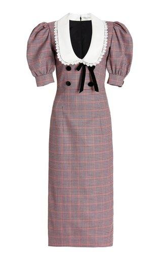 Prince Of Wales Checked Wool Midi Dress