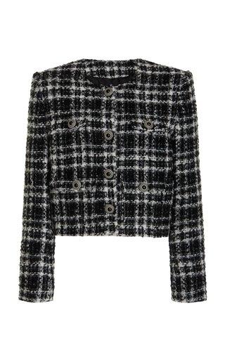 Boxy Checked Tweed Jacket