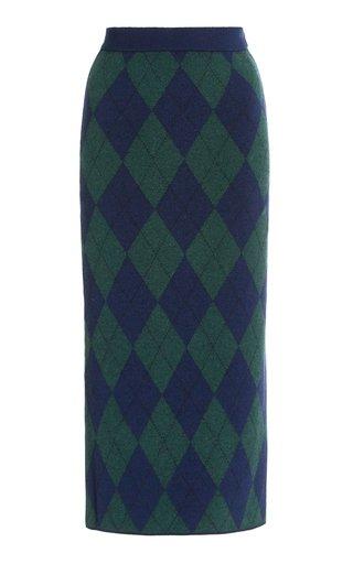 Arglye-Knit Midi Skirt