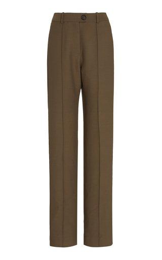 Wool-Blend Straight-Leg Pants