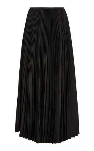 Squid Pleated Satin Midi Skirt