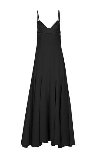 Night Pleated Crepe Midi Dress