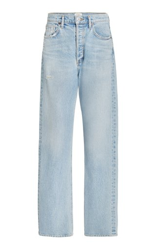 Eva Stretch High-Rise Relaxed Baggy Straight-Leg Jeans