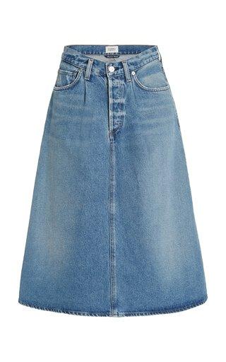 Cecilia Pleated Denim Midi Circle Skirt