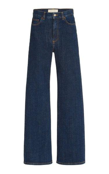 Pyramid Stretch High-Rise Organic Cotton Flared-Leg Jeans