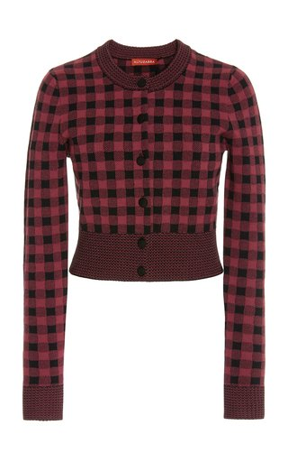 Latania Cropped Gingham Jacquard-Knit Cardigan