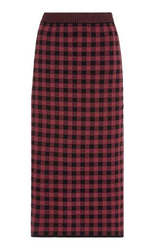 Billie High-Rise Gingham Jacquard-Knit Midi Skirt