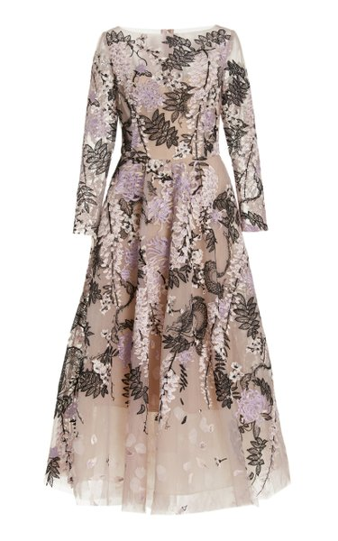Floral-Embroidered Tulle Midi Dress