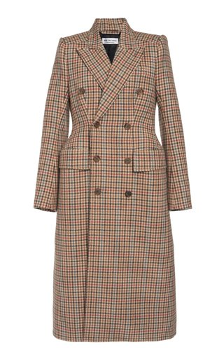 Hourglass Houndstooth Wool Double-Breasted Coat