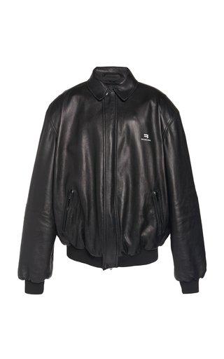 Oversized Logo-Print Leather Blouson Jacket