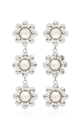 Long Daisy Crystal and Pearl-Embellished Silver-Tone Earrings