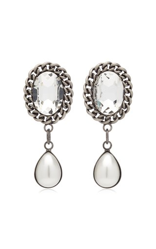 Crystal and Pearl-Embellished Silver-Tone Earrings