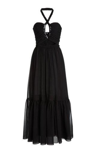 Cutout Sequined Silk Maxi Dress