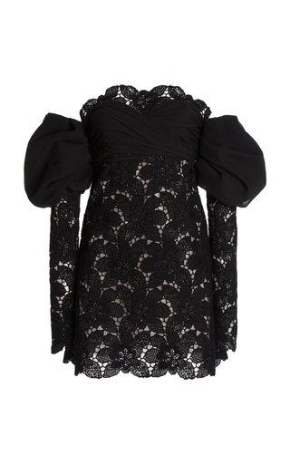 Off-The-Shoulder Macramé Mini Dress
