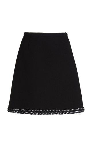 Embroidered Wool-Blend Crepe Mini Skirt