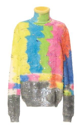 Metallic Printed Mohair Turtleneck Sweater