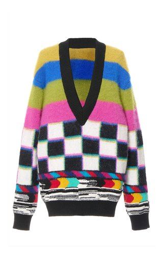 Oversized Mixed-Print Wool-Cashmere Sweater