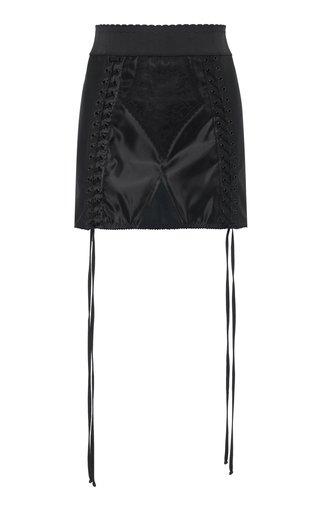 Lace-Up Satin Mini Skirt