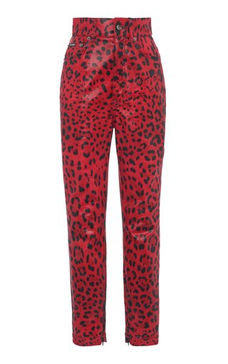 Coated Leopard-Print High-Rise Skinny Jeans