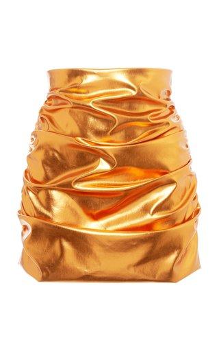 Ruched Iridescent Vinyl Mini Skirt