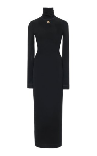 Stretch-Cotton Jersey Turtleneck Maxi Dress