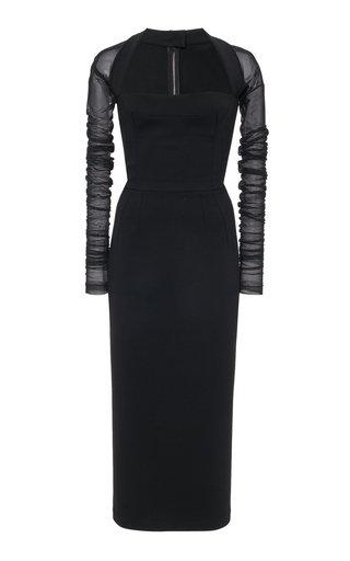 Chiffon and Stretch-Jersey Midi Dress